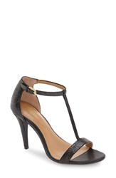 Calvin Klein Women's 'Nasi' Leather T Strap Sandal Black Print Leather