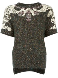 Antonio Marras Lace Overlay Knitted Top Green