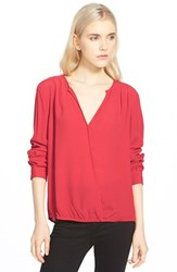 Trouve Women's Trouve Surplice Zip Cuff Blouse