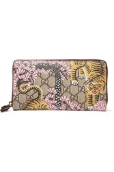 Gucci Leather Trimmed Printed Coated Canvas Wallet Beige
