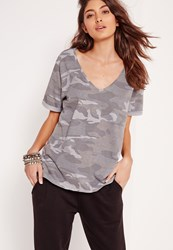 Missguided Camo Print V Neck Boyfriend T Shirt Grey Grey