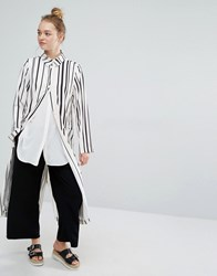 Monki Duster Coat Stripe White