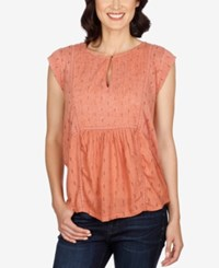 Lucky Brand Cap Sleeve Mixed Media Top Desert Sand
