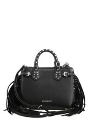 Burberry Baby Banner Fringe Leather Satchel Black