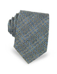 Forzieri Geometric Pattern Woven Silk Men's Tie Light Blue Gold