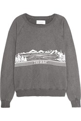 The Great Printed Cotton Blend Terry Sweatshirt Gray