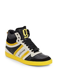 Galliano Multi Color Leather High Top Sneakers White