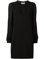 Saint Laurent Floral Macrame Shift Dress Black