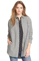Madewell Oversize Flannel Button Front Shirt Heather Medium Grey
