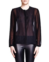 The Kooples Polka Dot Lace And Chiffon Shirt Black