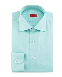 Isaia Textured Solid Woven Sport Shirt Green Women's