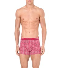 Bjorn Borg Plain And Check Pack Of Three Stretch Cotton Trunks Rio Red