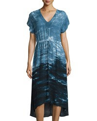 Xcvi Griffin Tie Dye Drawstring Dress Navy
