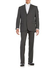Lauren Ralph Lauren Plaid Two Button Wool Suit Charcoal