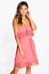 Boohoo Lace Trim Off Shoulder Dress Coral