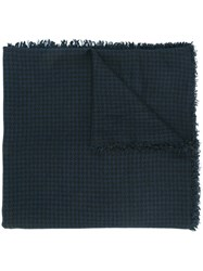 Faliero Sarti Woven Houndstooth Scarf Blue