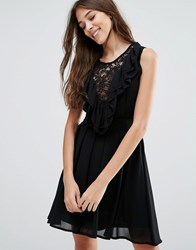 Wal G Lace Insert Skater Dress With Ruffles Black