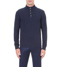 Corneliani Knitted Wool Blend Jumper Navy