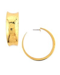 Hammered Gold Plated Hoop Earrings Nest Jewelry
