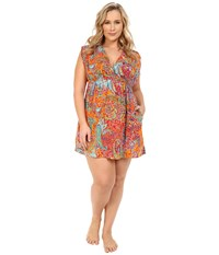 Lauren Ralph Lauren Plus Size Maharaja Paisley Farrah Dress Cover Up Coral Women's Swimwear