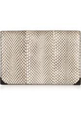 Alexander Wang Prisma Elaphe And Leather Clutch White