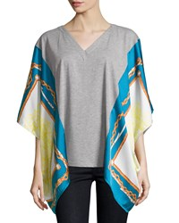 Neiman Marcus Scarf Print V Neck Tunic Gray