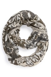 Chelsey Imports By Joseph Floral Stripe Infinity Scarf Gray