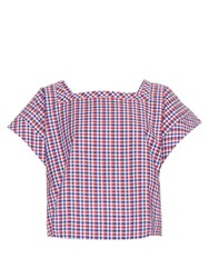 Stella Jean Impiantista Gingham Square Neck Cotton Top Red Multi
