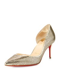 Christian Louboutin Galu Half D'orsay 70Mm Red Sole Pump Light Gold Ivory
