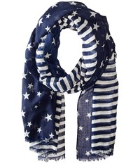 Steve Madden Two Tone Stars And Bars Day Wrap Navy Scarves