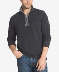 G.H. Bass And Co. Men's Big And Tall Zip Up Pullover Black Heather