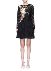 Valentino 'Kimono 1997 Re Edition' Floral Patchwork Lace Dress Black