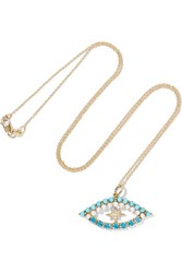 Ileana Makri Shiny Star Eye 18 Karat Gold Multi Stone Necklace