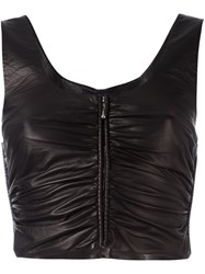 Alexander Wang Ruched Cropped Top Black