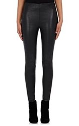 Saint Laurent Women's Grained Leather Leggings Black