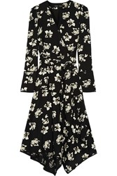 Proenza Schouler Wrap Effect Printed Crepe Midi Dress Black