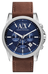 Armani Exchange Chronograph Leather Strap Watch 45Mm Brown Blue