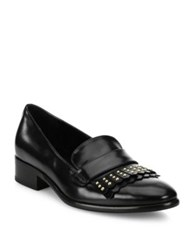 Alexander Mcqueen Studded Leather Kilted Loafers Black