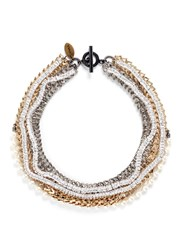 Venna Strass Pave Chevron Chain Pearl Necklace Metallic