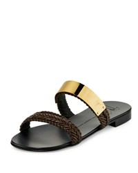 Giuseppe Zanotti Men's Braided Leather Slide Sandal W Golden Bar Brown