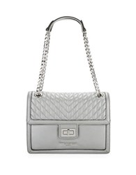 Karl Lagerfeld Convertible Leather Shoulder Bag Eclipse