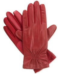 Isotoner Signature Smartouch Stretch Leather Tech Gloves Red