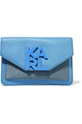 Karl Lagerfeld Suede Paneled Leather Clutch Blue