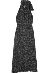 Saint Laurent Glittered Polka Dot Crepe Midi Dress Black