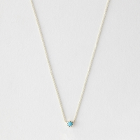 Grace Lee Petite Turquoise Crown Bezel Necklace Yellow Gold