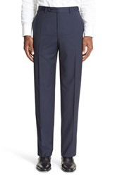 Canali Men's Big And Tall Flat Front Stripe Wool Trousers Navy