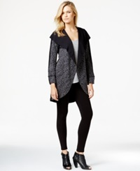 Kensie Long Sleeve Cocoon Cardigan Black Combo