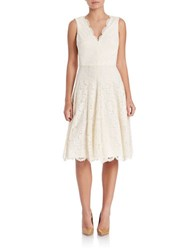 Vera Wang Lace V Neck Fit And Flare Dress Cream