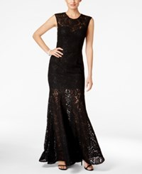 Betsy And Adam Open Back Lace Mermaid Gown Black