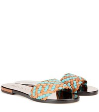 Jimmy Choo Weave Flat Leather And Fabric Sandals Brown